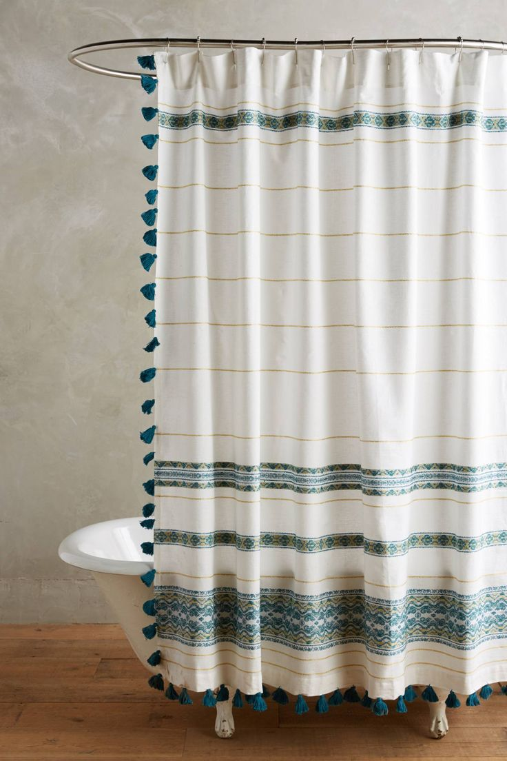 teal striped shower curtain. mitra shower curtain. striped teal curtain