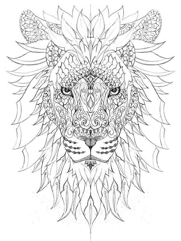afbeelding kleurplaten aquarel leeuw coloring pages