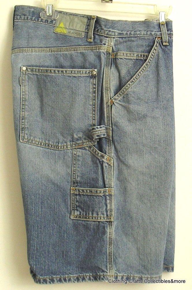Mens Levis Silvertab Denim Jean Shorts Sz 36 (Tag 34) Distressed Carpenter #levis #DenimCarpenter