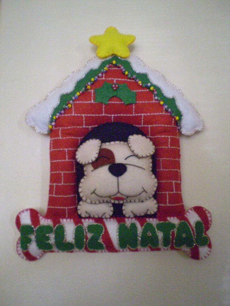 Enfeite de natal em feltro colorido,p/ decoração de porta ou parede.