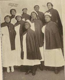 African American Women Military Service.  A Group of Red Cross Nurses on duty  as the base hospital at Camp Grant, Illinois. (Scott, 1919)