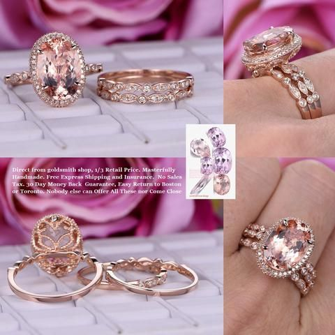 Oval Morganite Engagement Ring Sets Pave Diamond 14K Rose Gold Milgrain Under Gallery 10x14mm