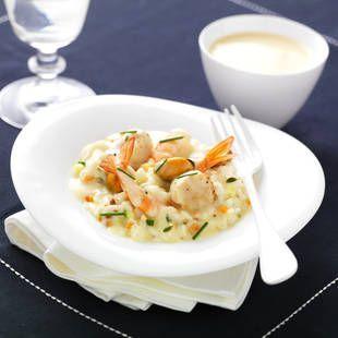 Risotto de Saint-Jacques et fruits de mer Sauce Saint-Jacques au Chablis l Recette plat Tipiak