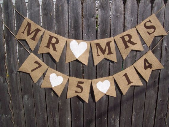 SET OF 2 BANNERS Brown White Date  / Mr MrsBurlap Banner Sign Rustic Country Chic Wedding Reception Decor Yellow Ivory on Etsy, $38.00