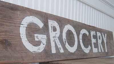 An almost six foot long  GROCERY sign #howto #DIY: Decor Ideas, Kitchens Wall, Rustic Signs, Kitchens Ideas, Barns Wood Signs, Vintage Signs, Old Wood, Make Signs, Diy Signs