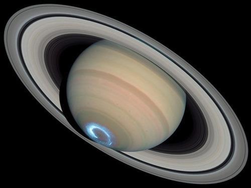 Imagem ilustrativa da aurora boreal em Saturno.