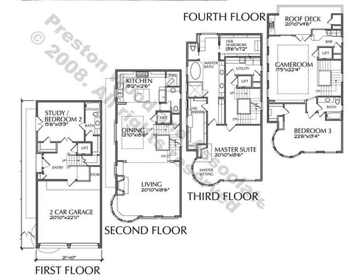 102 best images about townhouse floor plans on pinterest for 3 story townhome plans