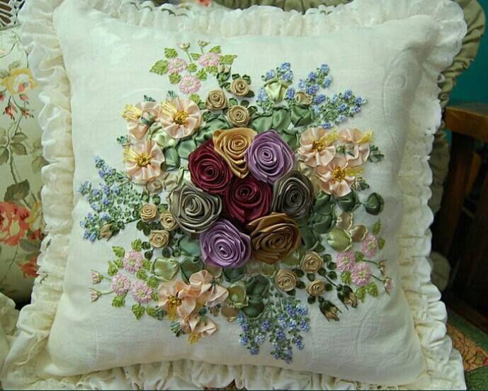 Satin ribbon embroidery cushion makaroka