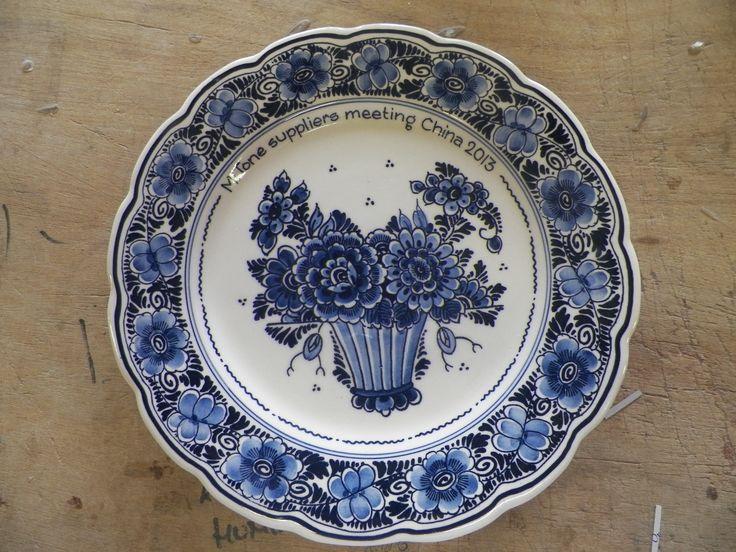 Bord Delfts blauw, bloemen