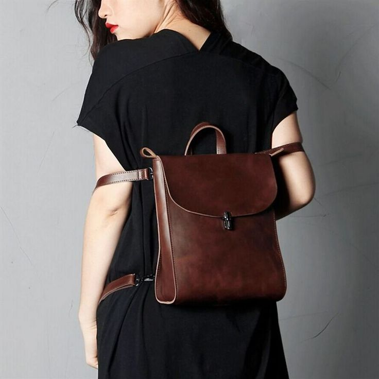 Brown Leather Small Backpack via Women's Fashion Bags. Click on the image to see…