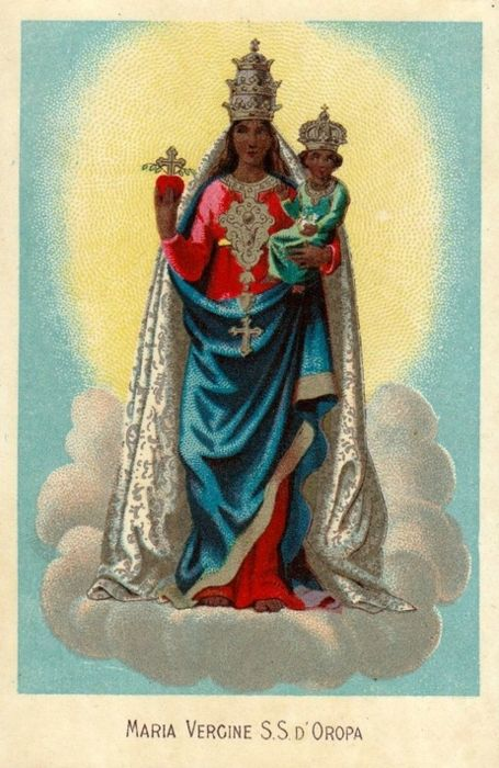 Maria Vergine S.S. D'OropaA devotional image of the miraculous Madonna of Oropa, Italy.Official site