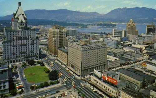 In the this photograph, taken in 1965, is the Hotel Georgia, representing the triumph of residential over commercial in the downtown – it narrowly avoided replacement by an office tower in the '90s. (Photo by George Weinhaupl). Image courtesy michaelkluckner.com, Vanishing Vancouver.