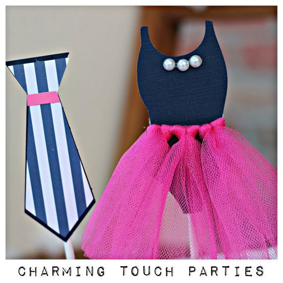 Gender Reveal cupcake toppers by Charming Touch Parties.  Ties or Tutus.  Set of 12.  Customizable.