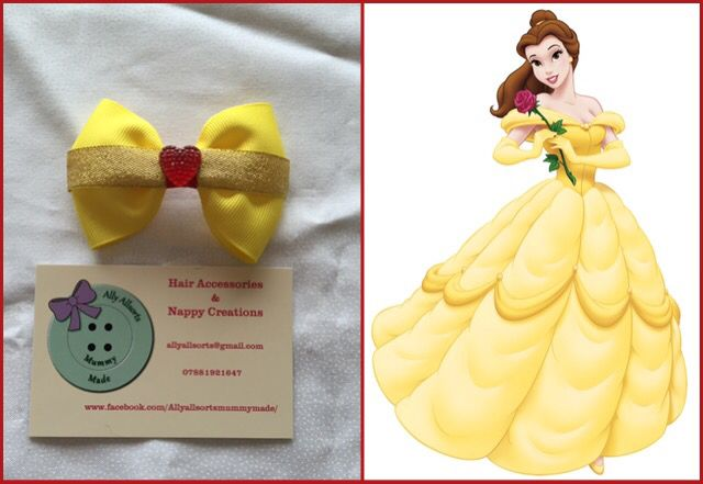 Belle beauty and the beast hair bow