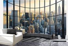 Oh goodness!! I love this idea Miss the city! city mural | ... Red, black and white bedroom theme - New York theme