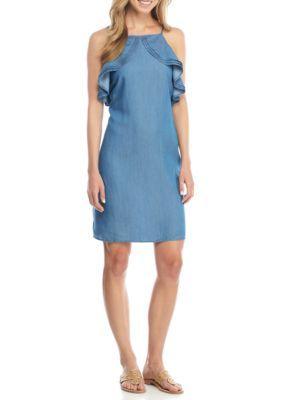 Crown & Ivy™ Women's Ruffle Trim Short Dress - Chambray - 10