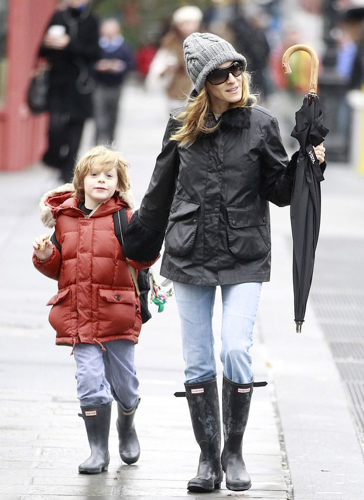 Sarah Jessica Parker wearing Hunter Original Tall boots in NYC with her son