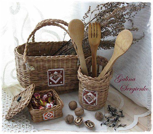 Поделка изделие Плетение Vine Unity  Ткань Трубочки бумажные фото 1