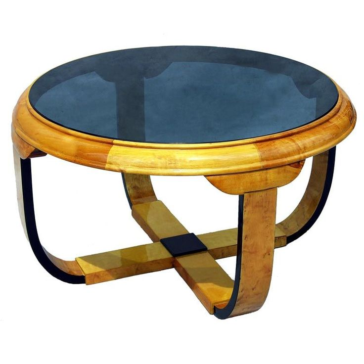Art Deco Coffee Table   Sweden   1930's   Glass topped round coffee table.