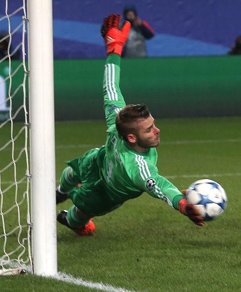David De Gea of Manchester United saves a penalty during the UEFA Champions League Group B match between CSKA Moskva and Manchester United at Arena...