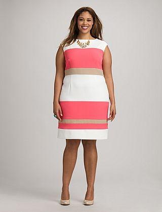 Plus Size Coral Colorblock Dress