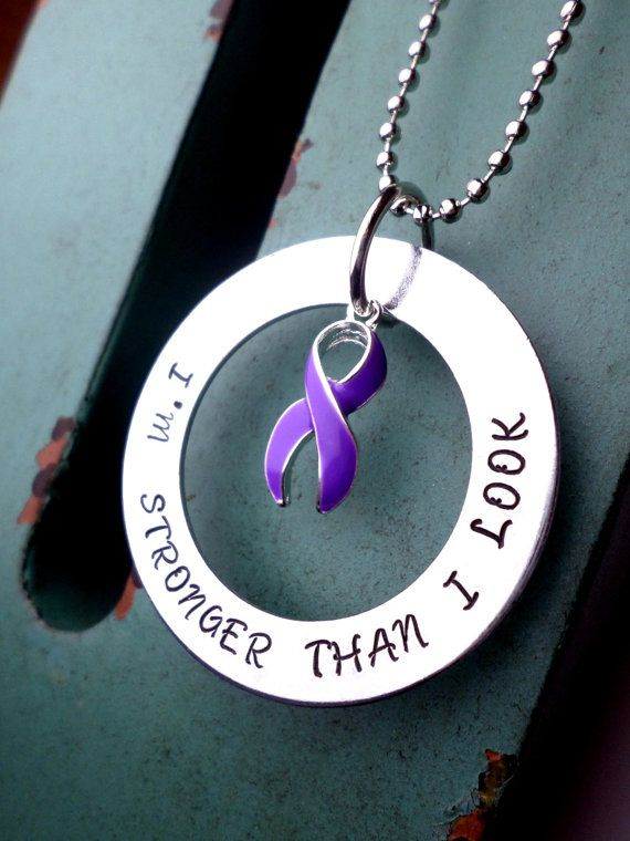 Purple Ribbon Necklace, Epilepsy,Chiari Malformation,Hodgkins Disease,Alzheimer's, Domestic Violence, Pancreatic Cancer, Lupus, Fibromyalgia