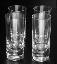 "Kosta Boda Pippi Clear 4 Flat Tumbler Glasses Air Bubble Design 6-3/4"" NR Sweden"