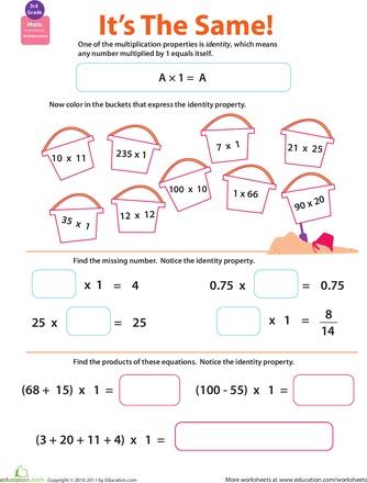 Properties Of Multiplication Identity Worksheet Education Com Math Properties Properties Of Multiplication Math Classroom