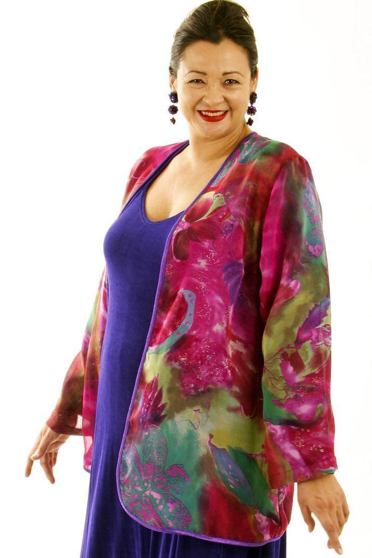 e308c9676238d Special Occasion Jacket Hot Pink Green Purple Silk Print Chiffon ...
