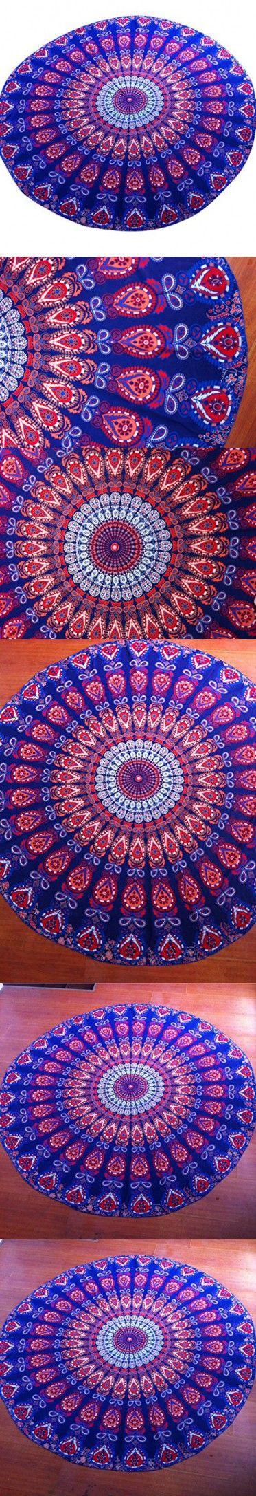 Shufua Durable and Soft Tablecloth Beach Towel , Hippie Hippy Style Yoga Mat,Bedspread, Bed Cover, Table Cloth, Curtain,Wall Hanging,Tapestry, Blue with Orange