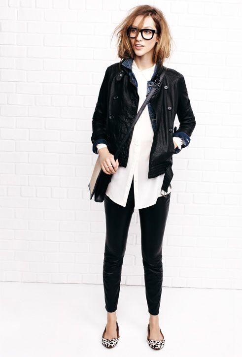 Black leggings, white collared shirt, denim shirt, animal print flats & leather jacket.