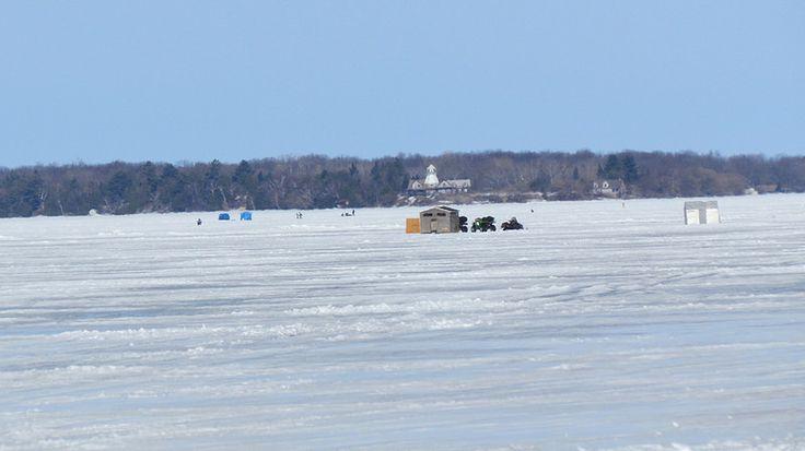 Ice Fishing on Lake Simcoe, Ontario
