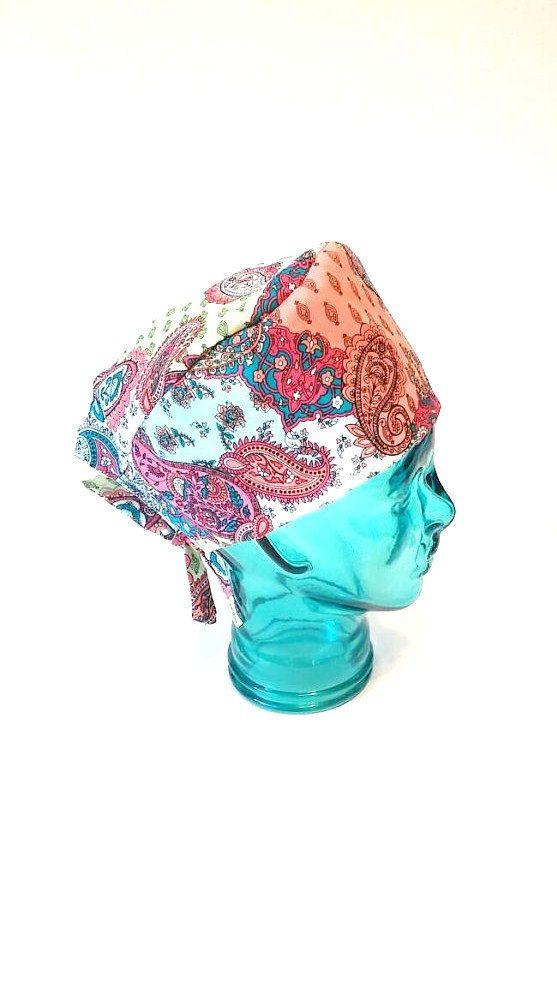 Handmade paisley scrub cap/ Doctors scrub caps/ by SewInBoutique