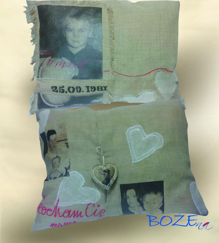 Przykładowa poduszka na urodziny wykonana w całości własnoręcznie . Użyłam własnych zdjęć  - nadruk trwały na materiale, napisy, linie wykonałam flamastrami do tkanin - trwałe. materiał: len Uszyłam sama.  Wymiar:  40cmx40cm