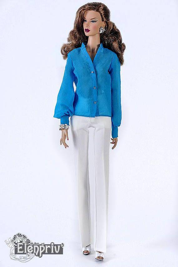 ELENPRIV turquoise chiffon blouse for Fashion royalty FR ITBE