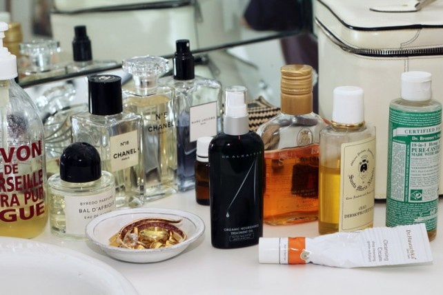 Top Shelf of Lisa Marie Fernandez ... Dr. Hauschka, Dr. Bronner's and Chanel eau de toilette, of course www.intothegloss.com