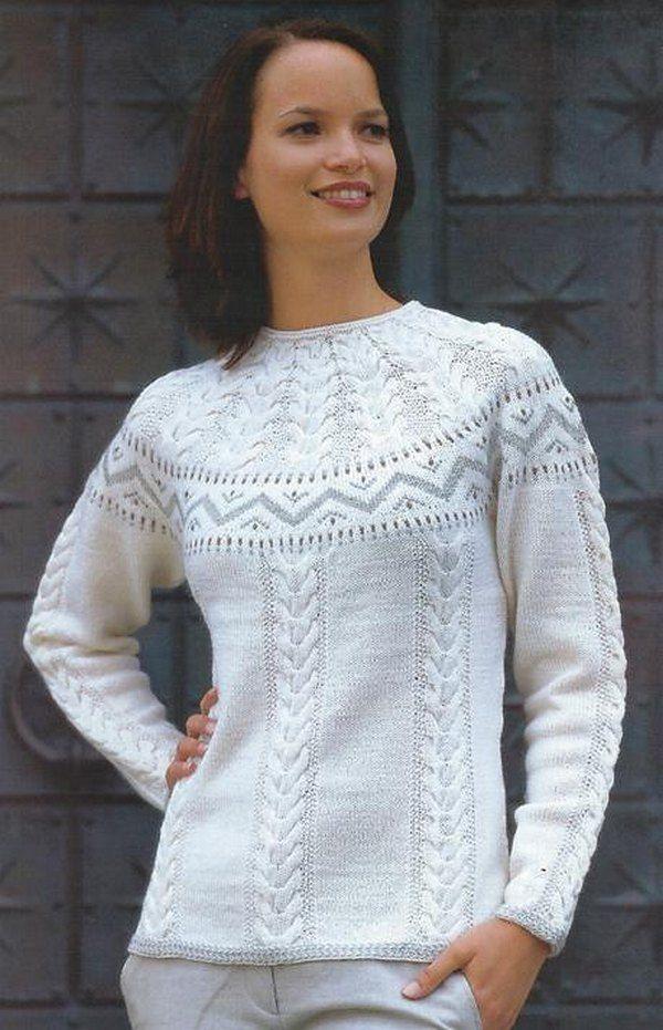 Пуловер в норвежском стиле спицами