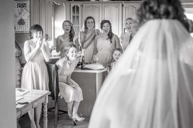 Bridesmaids first look, photo by Brady McCloskey Photography. Prince Edward Island wedding.