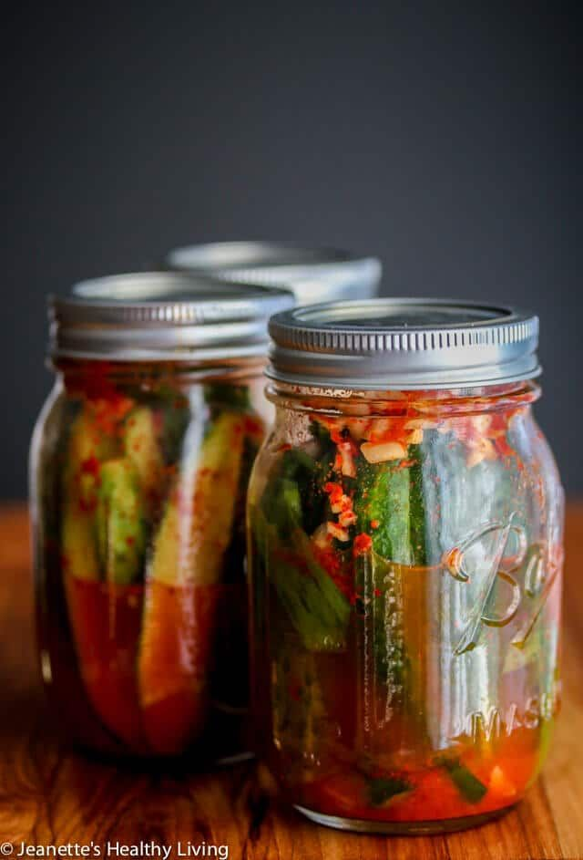 Spicy Korean Cucumber Kimchi Refrigerator Pickles - spicy and a little sour, these pickles are easy to make - I leave them out on the counter to ferment for one day, then refrigerate them ~ http://jeanetteshealthyliving.com