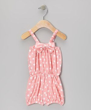 Loving this Peach Polka Dot Bow Romper - Infant & Toddler on #zulily! #zulilyfinds