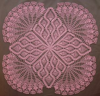 Crocheted TV Cover: This pattern contains directions for a crocheted square in the pineapple design with lacy, scalloped corners. If made in No. 50 Cotton, square may be used as a TV cover or cloth; worked in either No. 30 Cotton or string, it will make a lovely centerpiece. Crochet the cloth at 22, 25 or 38 inches.