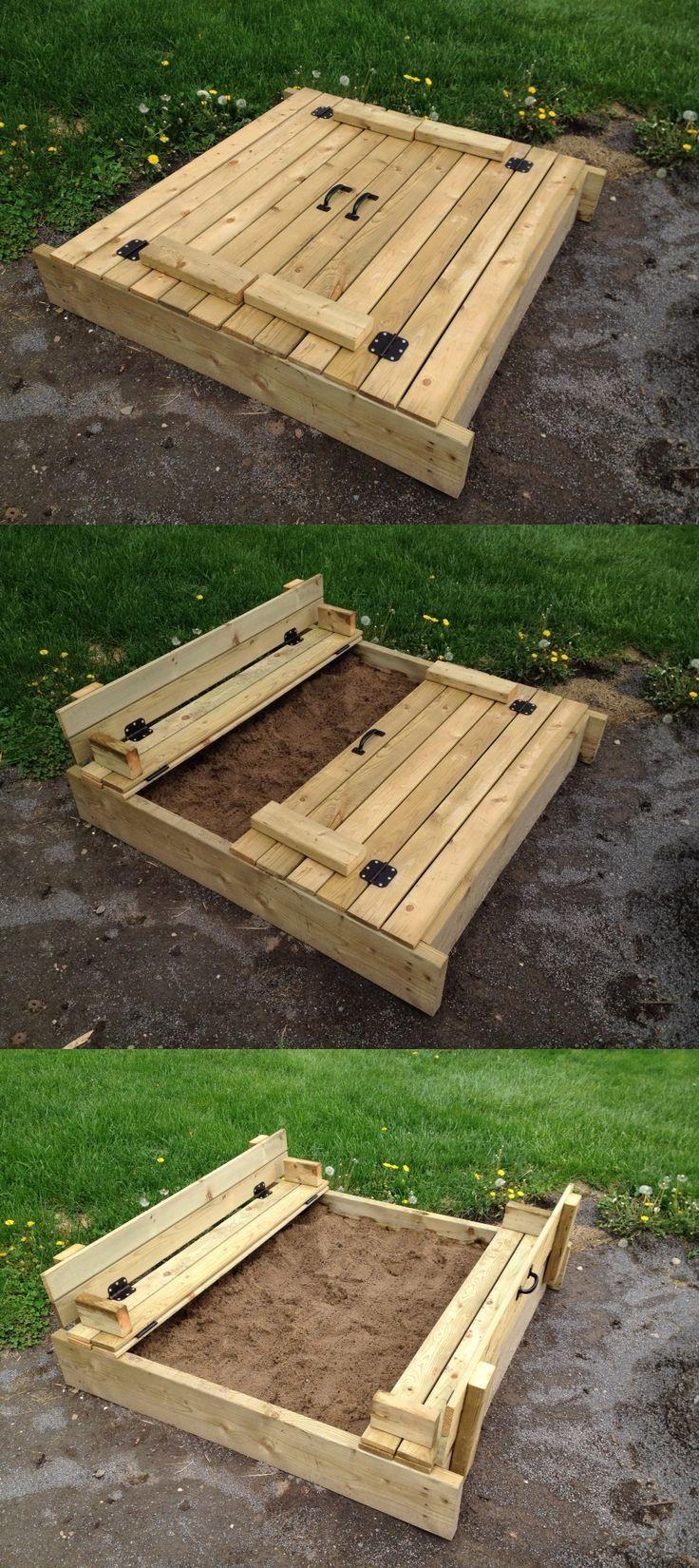 Homemade patio furniture ideas - Carr De Sable Sandbox Home Made Avec Couvercle Et Banc Rabatable Folding