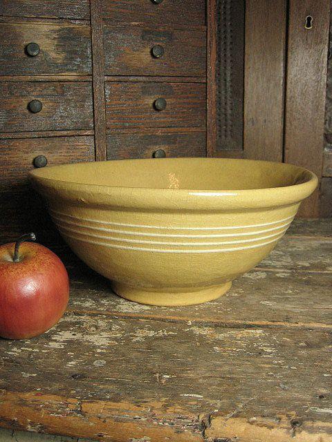 Grandma's Favorite Old Thick Yellowware Mixing Bowl w/ Four White Stripes  $95