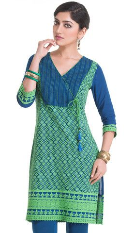 Blue Cotton Kurti with Green Embroidery | Naari