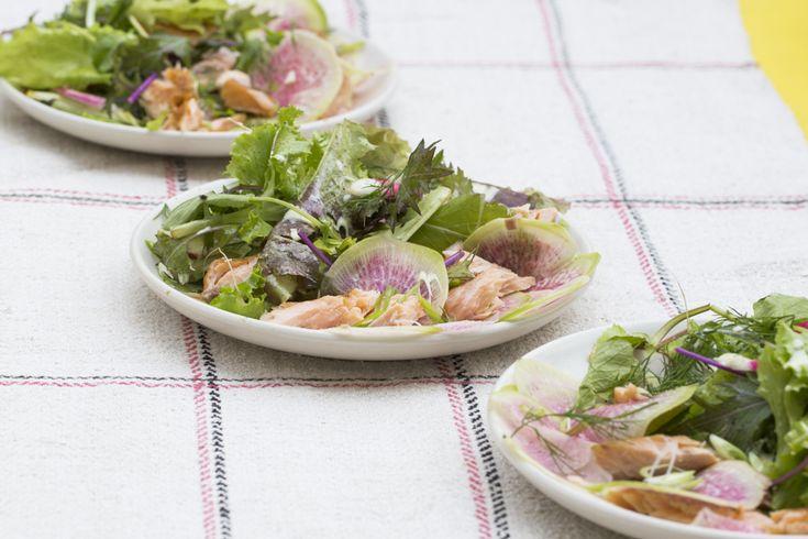 Sally Eason's Smoked Trout Salad on Mesclun Greens | SALAD for President