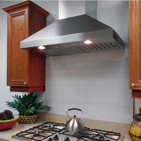 This Imperial WHP1900 Series Wall Pyramid Range Hood with Slim Baffle Filters and 7'' Duct is UL tested at 36'' above the cooking surface. The hood features a standard finish in stainless steel, or a powder coat finish in white or black, and includes dishwasher-safe stainless steel baffle filters.
