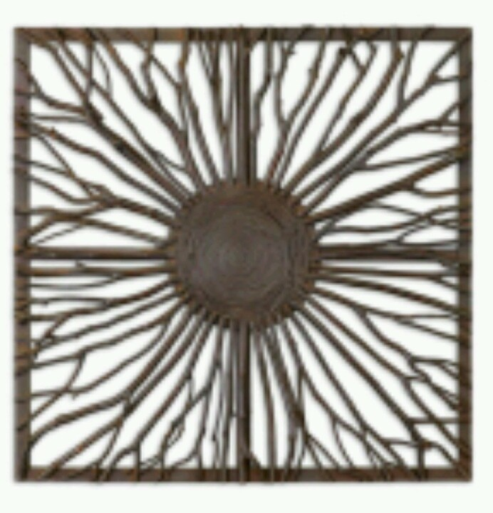 Uttermost josiah square on sale this decorative wall art features real wooden branches with burnished edges and light gray accents woven onto a wooden