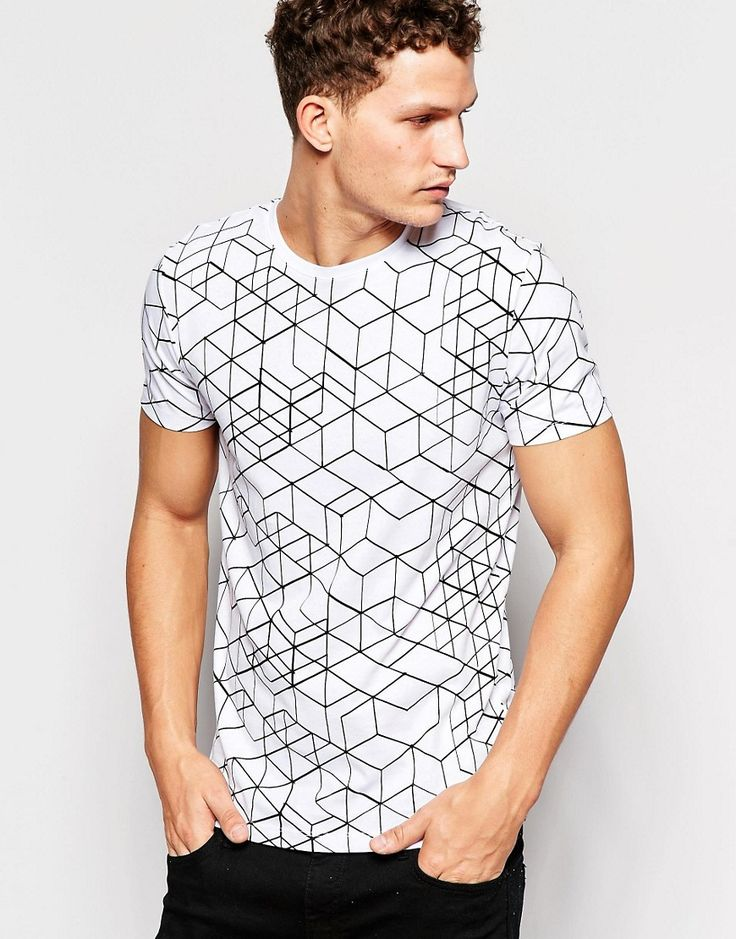 Image 1 of Only & Sons T-Shirt with All Over Geo Print
