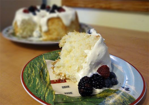 Pineapple angel food cake with fluffy frosting & berries ... big flavor with no guilt! | Living the Country Life  http://www.livingthecountrylife.com/blogs/lisas-kitchen/2012/02/03/pineapple-angel-food-cake/