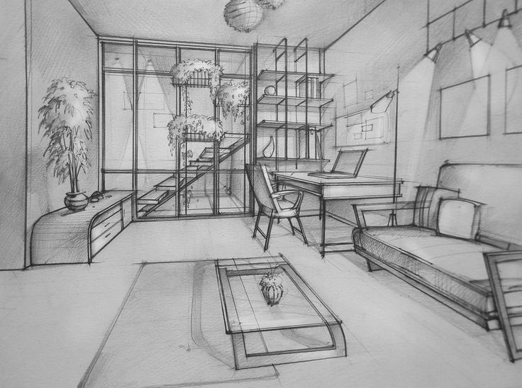 perspective drawing room 1 point perspective room perspective sketch